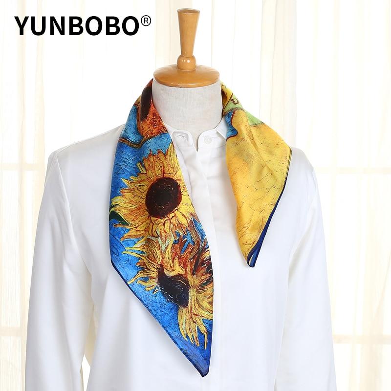 Designer Brand Women Scarf Fashion  Flower Print Silk Scarves Square Small Handkerchief Office Neck Hair Scarfs