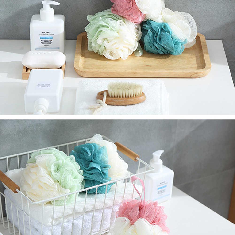 3 pièces exfoliant luffa coloré soins de la peau nettoyage douche boule maille Pouf fleur bain outil bain éponge corps lavage épurateur