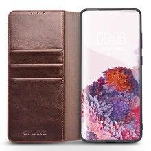 QIALINO אמיתי עור תיק טלפון מקרה עבור סמסונג S20 + בתוספת 5G אופנה יוקרה Flip כיסוי עבור Samsung S20 ultra