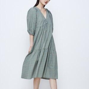 Dress Summer 2020 New Korean Fashion Clothing Preppy Style Casual Loose Maxi Dresses for Women Ruffle Lantern Sleeve Plaid Dress
