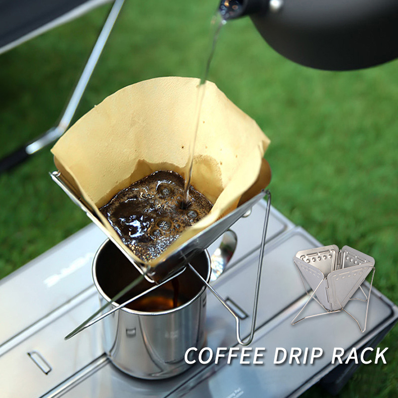 1pc Outdoors Coffee Drip Rack Stainless Steel Portable Foldable Filter Coffee Dripper Funnel For Camping