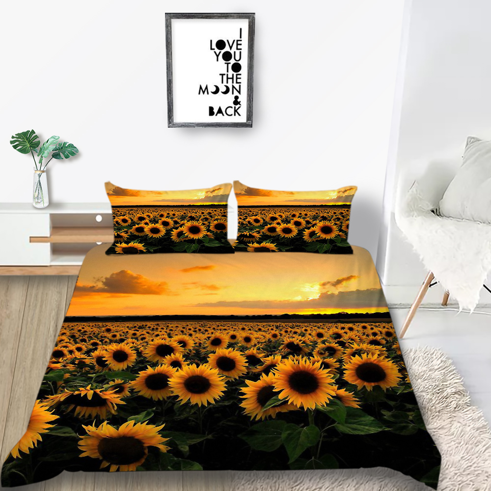 Thumbedding Bed Duvet Cover Set Sunflower Bedding Set King Dusk Romantic Soft Queen Single Double Twin BedSpreads