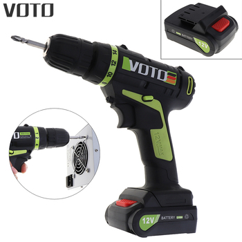 VOTO AC 100-240V Cordless Lithium Battery 12V Electric Screwdriver with Rotation Adjustment Switch  for Handling Screws/Punching voto ac 100 240v cordless 12v electric drill screwdriver with adjustment switch and two speed adjustment button for punching