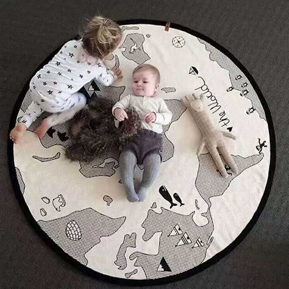 Baby Play Mats Kids Crawling Pad Blanket Round Carpet Rug Toys Mat For Children Room Decor Adventure world map Play Mat Baby Gym