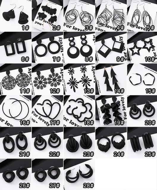 Black Geometric Hollow Drop Earrings