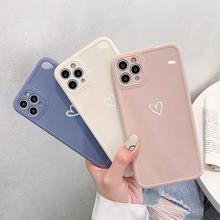 Cukierkowe kolory Love Heart etui na telefon iPhone 11 Pro Max 7 8 Plus X XR XS Max 12 trójwymiarowa kwadratowa ramka tylna okładka Coque tanie tanio CN (pochodzenie) Aneks Skrzynki love heart phone case Apple iphone ów IPhone 7 IPhone 7 Plus IPHONE 8 PLUS IPHONE X IPHONE XS MAX