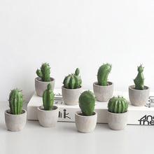 Nordic Creative Cactus Simulation Bonsaia Resin Artificial Succulent Prickly Pear Figurines Home Ornaments Garden Decorations