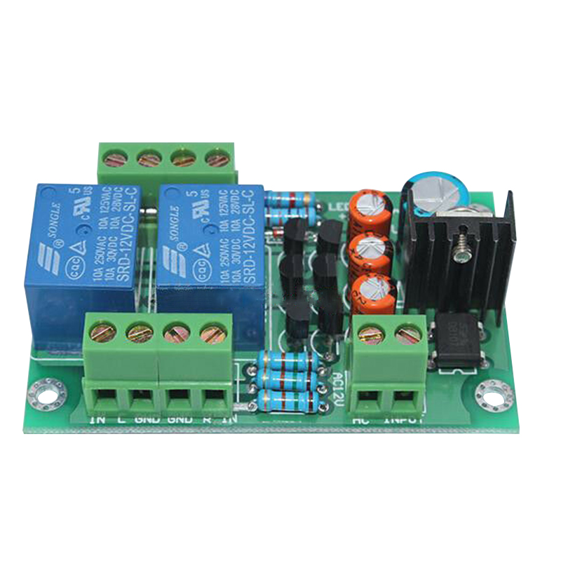 1PC 12-15V AC Stereo Loud Speaker Protection Circuit Board 10A Two-Channel 3S Delay Soft Starting Board DC Protect 70x50x17MM