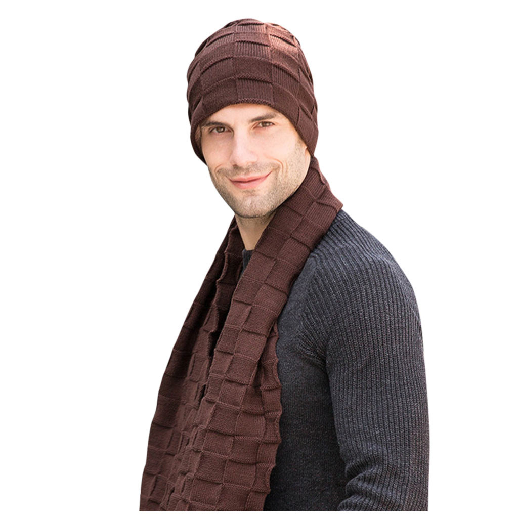 2pc Men's Autumn And Winter Scarf, Hat & Glove Sets Hat Cap Plus Velvet Thick Knit Hat Scarf  Two-Piece Gorros Hombre Invierno