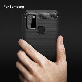 For Samsung A21s A50 A51 A70 A71 Soft Silicone Flex Carbon Fiber Case for Samsung S20 Note 20 Plus Ultra Shockproof Back Cover image
