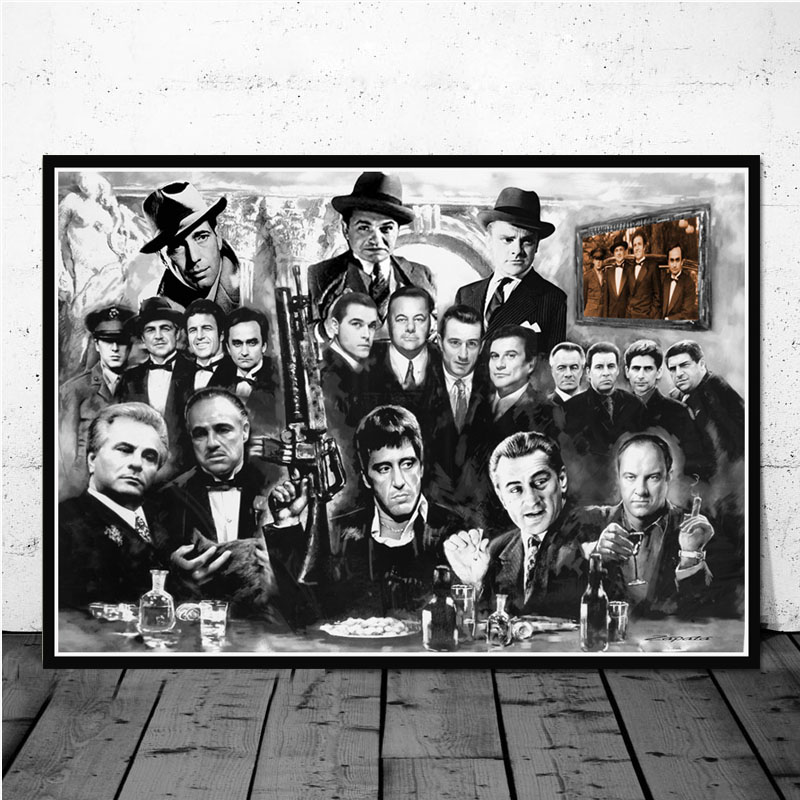 Classic Movie <font><b>Gangsters</b></font> Godfather Wall <font><b>Posters</b></font> Canvas Paintings Wall Art Pictures <font><b>Posters</b></font> and Prints for Living Room Decor image