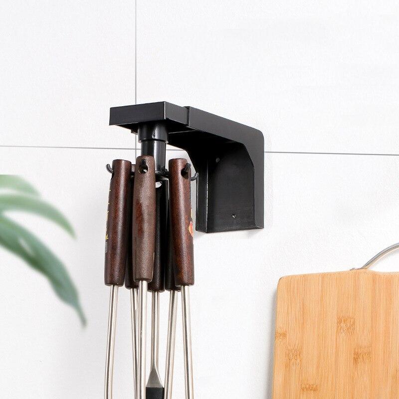 360° Rotatable Kitchen Utensils Storage Rack Household Telescopic Wall Mounted Knife Ladle Shovel Holder Shelf