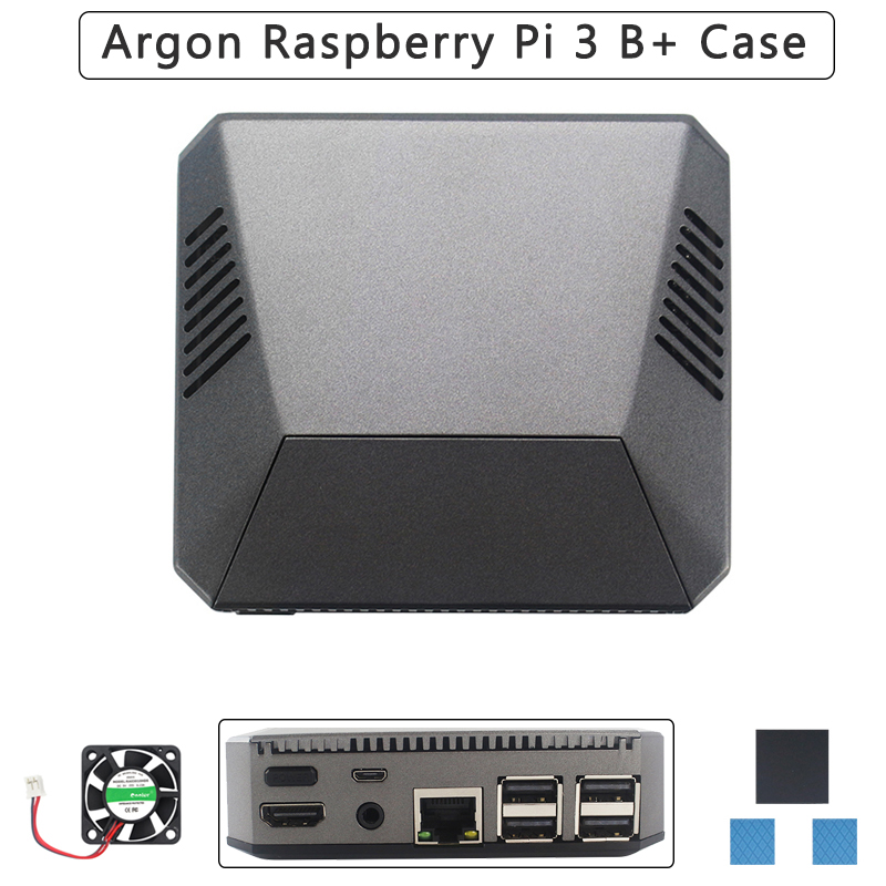 Argon Raspberry Pi 3 Model B+ Argon Aluminum Case Removable Magnetic GPIO Cover Metal Shell+Cooling Fan Heat Sink For RPI 3B+/3B