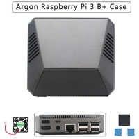 Carcasa de aluminio argón Raspberry Pi 3 Modelo B + carcasa de GPIO magnética extraíble carcasa metálica + disipador de calor del ventilador de refrigeración para RPI 3B +/3B