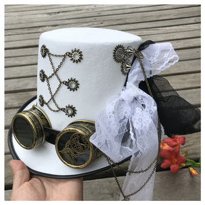 Image 4 - Women White Handmade Steampunk Top Hat With Gear Glasses and Lace Stage Magic Hat Performance Hat Size 57CM Steampunk Hat