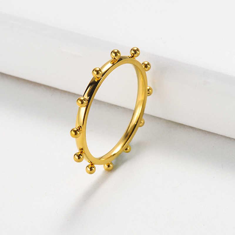 Peri'sBox 5 แบบ GOLD Filled แหวนหัวใจรัก Chunky หกเหลี่ยมเรขาคณิตแหวนลูกปัดขนาดเล็ก Minimalist CHAIN แหวน