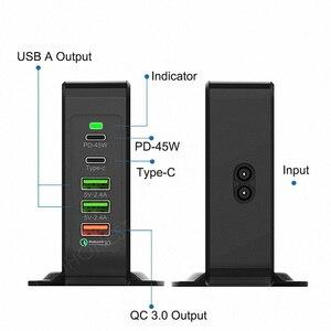 Image 5 - 45W PD Charger 5 พอร์ต QC 3.0 USB C สถานีชาร์จสำหรับ iPhone X MacBook Samsung S10 ประเภท C อะแดปเตอร์รวม 75W EU UK