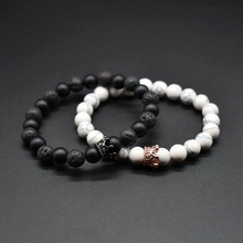 2Pc /set Couples Bracelets 8mm Beads Black Matte Carnelian & White Howlite Queen King Crown CZ Lovers Bracelet