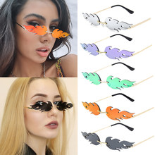 New Brand Designer Fashion Flame Rimless Gradient Sun Glasses Shades Cutting Lens Ladies Frameless Eyeglasses Retro Sunglasses