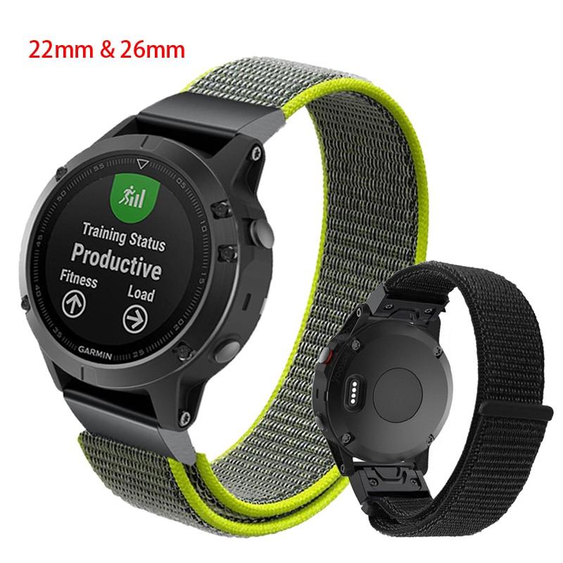 22mm 26mm Quick release Nylon Velcro Wrist Strap For Garmin Fenix 3/Fenix 3 HR/Fenix 5 5X forerunner935/945 Wristband Watchstrap
