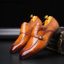 Podwójne mnich buty z paskiem buty do biura buty Oxford dla mężczyzn Zapatos De Hombre Italiano Chaussure Homme Mariage Chaussure Homme