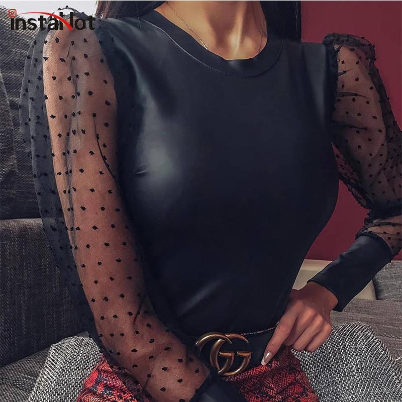 InstaHot Leather Mesh Patchwork Black Bodysuit Women Puff Sleeve Ladies Slim Round Neck Romper Sexy Transparent Elegant Bodysuit