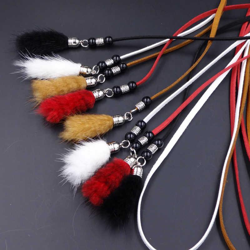 Nouvelle mode haute qualité taille ceintures pour femmes robes frange mince noué corde de luxe femelle sangle Faux lapin fourrure gland ceintures