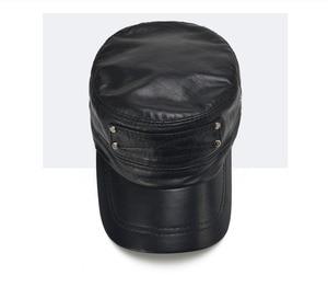 Image 4 - [Aetrends] 黒の羊革野球キャップ男性ブランドフラットキャップお父さん帽子屋外革帽子gorras planas z 5296