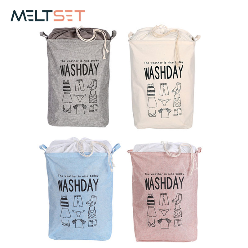 Large Folding Dirty Laundry Basket Organizer Toy Clothes Storage Basket Bucket Collapsible Drawstring Laundry Hamper With Handle