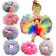 Dance-Skirt Tutu Unicorn Rainbow-Color Costume Petti Birthday-Party Fluffy Girls Baby