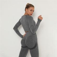 Комплект из 2 предметов, костюм для йоги, спортивные костюмы с контролем живота, эластичные Леггинсы для йоги, комплекты спортивных рубашек ...
