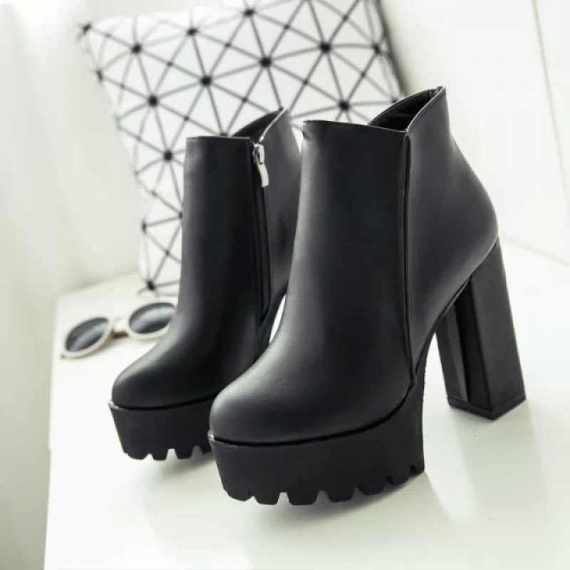 เซ็กซี่ SEXY รองเท้าส้นสูงรองเท้าผู้หญิงหญิงรอบ Toe Martin บู๊ทส์หนารองเท้าส้นสูงรองเท้าบูทข้อเท้า uik8