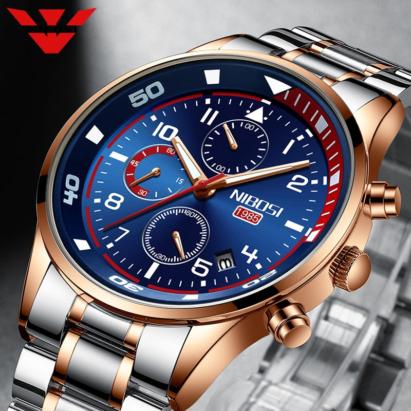 NIBOSI 2020 Mens Watches Luxury Waterproof Sport Watch Men Fashion Stainless Steel Luminous Chronograph Male Relogio Masculino