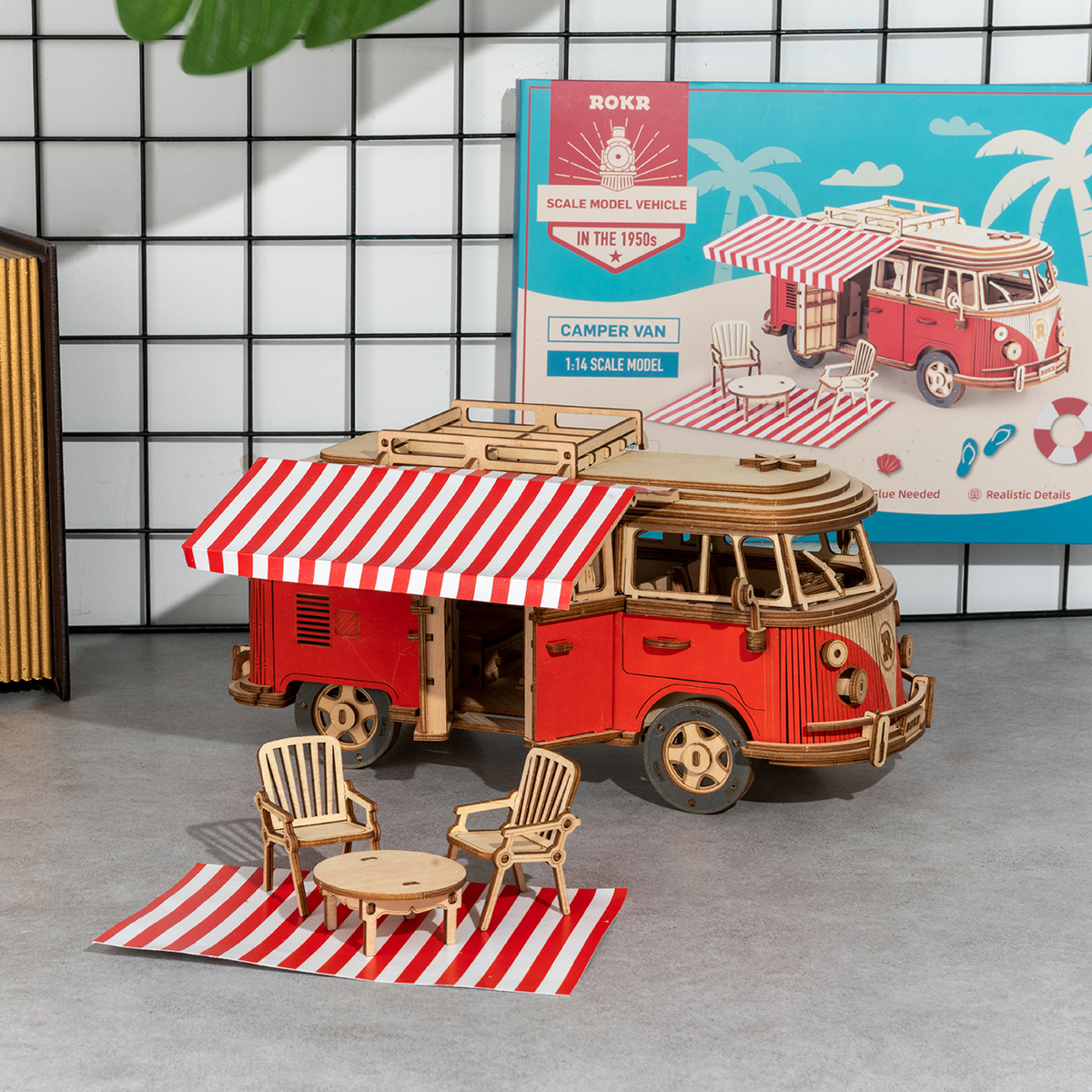 Truck - Robotime 242pcs DIY 3D Camper Van Wooden Recreational Vehicle Puzzle Game Assembly Car Toy Gift