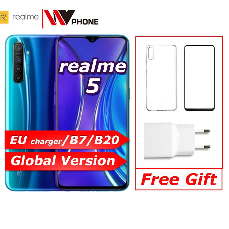 Realme 5 Global Version  Moblie Phone 6.5'' Full Screen Snapdragon 665 AIE  Quad Camera PowerHero Cellphone