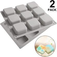 Moldes de silicona para jabón, molde cuadrado de 9 cavidades para hornear, hecho a mano, sartén para pastel, Fabricación de hielo