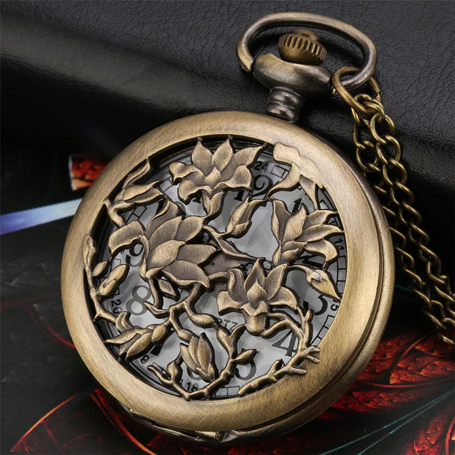 Exquisite Bronze Hollow Flowers Design Quartz Pocket Watch Arabic Numerals Round Dial Vintage Women Pendant Necklace Clock