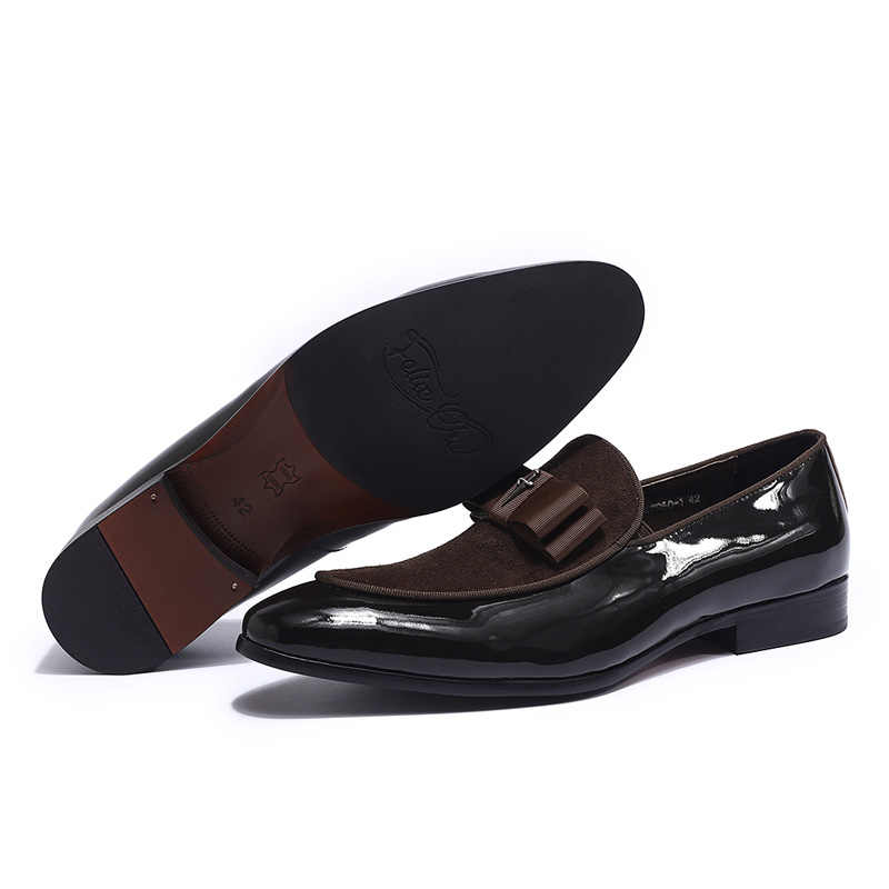 Patchwork fait main en cuir verni véritable et Nubuck avec nœud papillon hommes mariage chaussures habillées noires mocassins de Banquet pour hommes