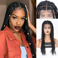 RONGDUOYI Long Black Hair Synthetic Wig Braided Box Braids Wigs for Women Middle Part Full Lace Wig Heat Resistant Lace Wigs