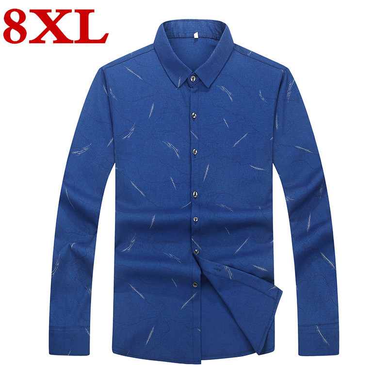 New Plus Size 8XL 7XL  Spring Autumn Men's Shirt Social Casual Big Size Long Sleeve Shirts Men Clothes