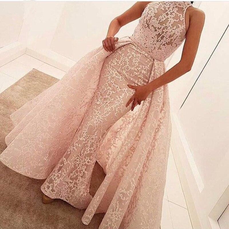 Pink 2019 Muslim Evening Dresses A-line High Collar Appliques Lace Dubai Saudi Arabic Long Evening Gown Prom Dress