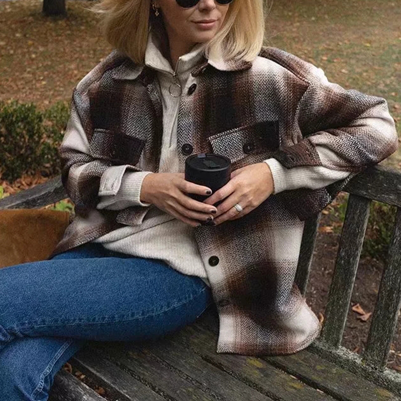Vintage women 2019 long sleeve woolen coats fashion ladies thick plaid coat female streetwear elegant girls Vintage women 2019 long sleeve woolen coats fashion ladies thick plaid coat female streetwear elegant girls oversize jacket chic