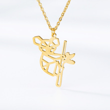 Hollow Koala Necklace Women Men Collar Mujer Stainless Steel Animal Gold Chain Choker Necklaces Pendents Jewelry Accessories BFF цена