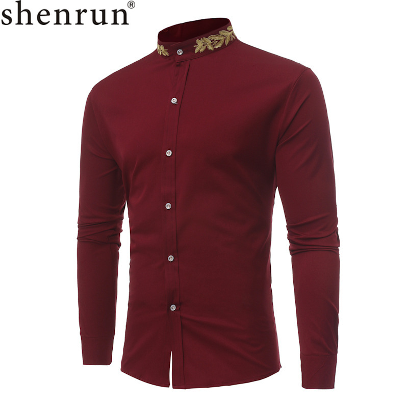 Shenrun Men Fashion Shirts Long Sleeve Stand Collar Wheatear Embroidery Autumn Winter Business Party Shirt Wine Red Black White