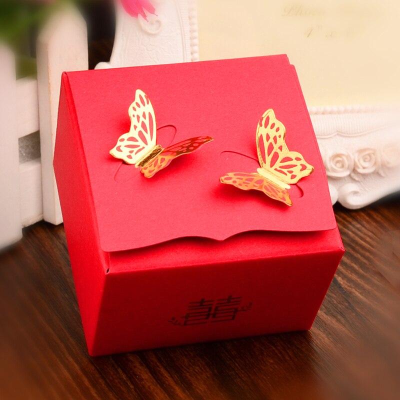 Classique chinois boîte de cadeau de mariage 50 pcs/lot boîte de rangement cadeau avec glands carton organisateur conteneur décor faveurs coffrets cadeaux
