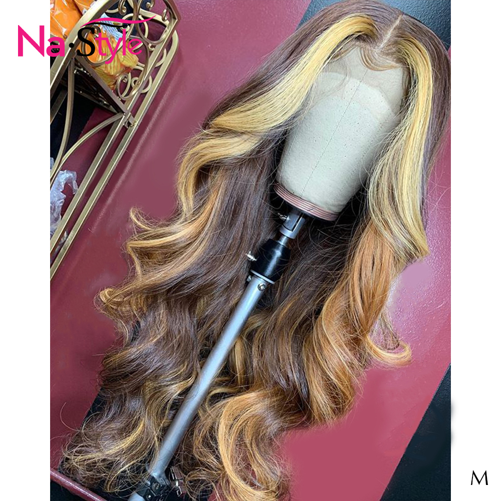 4/27 Ombre Human Hair Wig Lace Frontal 13x6 150% Body Wave Wig Pre Plucked Bleached Knots Peruvian Hair For Black Women Remy