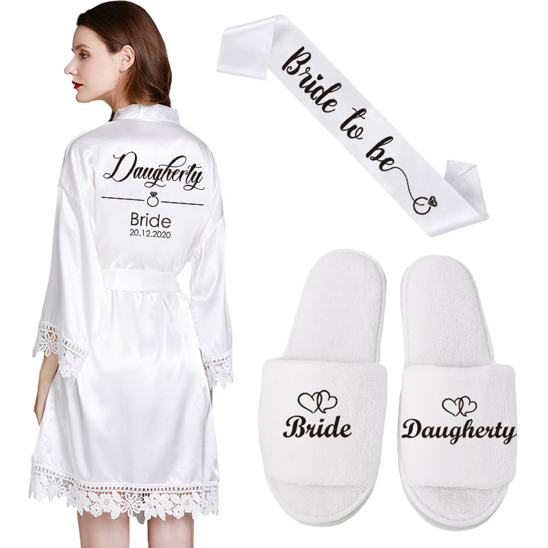 Customized Date Name Lace Kimono Robe Women Wedding Bride Bridesmaid Robes Bachelorette Wedding Gifts