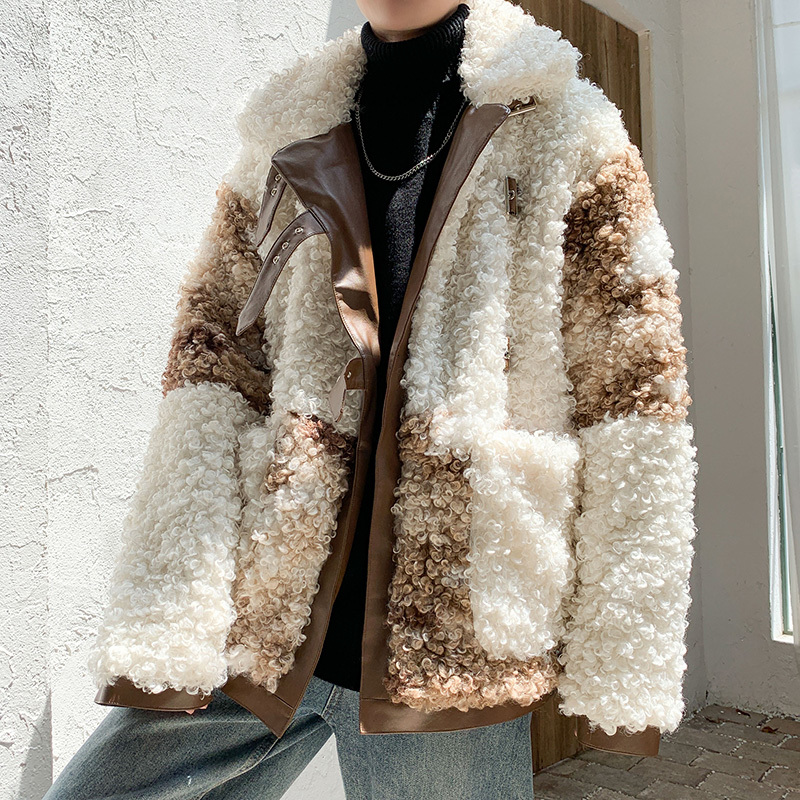 Lamb Fur Coat Men Winter Korean Style Contrast Color Men Winter Jacket Lamb Fur Warm Casual Short Coat Man High Street Outcoat