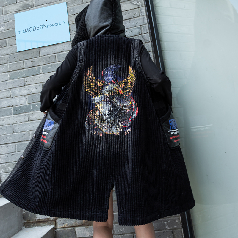 ANIMA DI TIGRE 2019 Coreano Delle Signore Del Progettista di Lusso Stampato Gilet Delle Donne Lungo Gilet Con Cappuccio Inverno Caldo Imbottito Cappotti Più Il Formato - 2