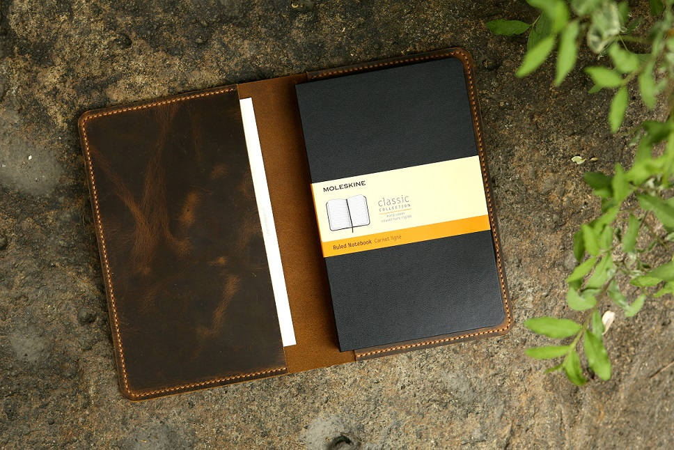 Leather Notebook Cover For Moleskine Classic Notebook, Retro Leather Cover Case For Moleskine Large Cahier Volant Journal MA505S